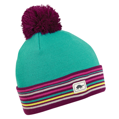 Turtle Fur Kids On The Level Cuff Pom Beanie Turquoise
