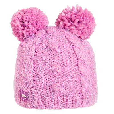 Turtle Fur Kids Fluff Balls Double Pom Winter Hat Lilac