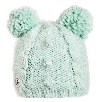 Turtle Fur Kids Fluff Balls Double Pom Winter Hat Mint