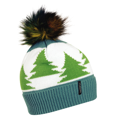 Turtle Fur Womens Forestry Faux Fur Pom Knit Beanie Teal