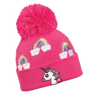 Turtle Fur Kids Unicorn Pom Winter Hat Pink