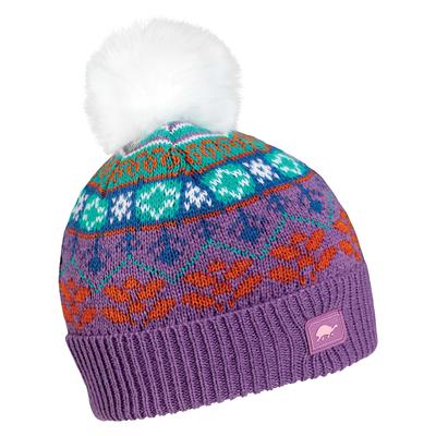 Turtle Fur Kids Snow Queen Faux Fur Pom Beanie Purple