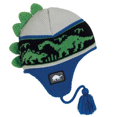 Turtle Fur Kids Dr. Dino Dinosaur Earflap Winter Hat Blue