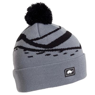 Turtle Fur Kids Mountain Stripes Pom Winter Ski Hat Gray