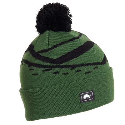 Turtle Fur Kids Mountain Stripes Pom Winter Ski Hat Green
