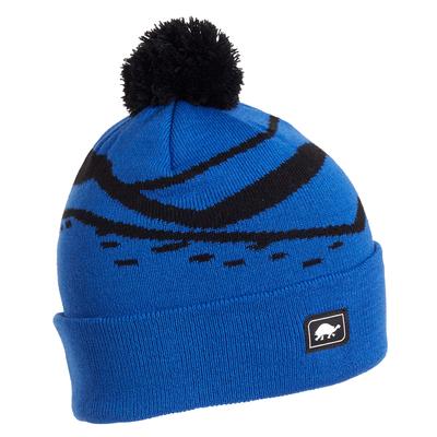 Turtle Fur Kids Mountain Stripes Pom Winter Ski Hat Royal