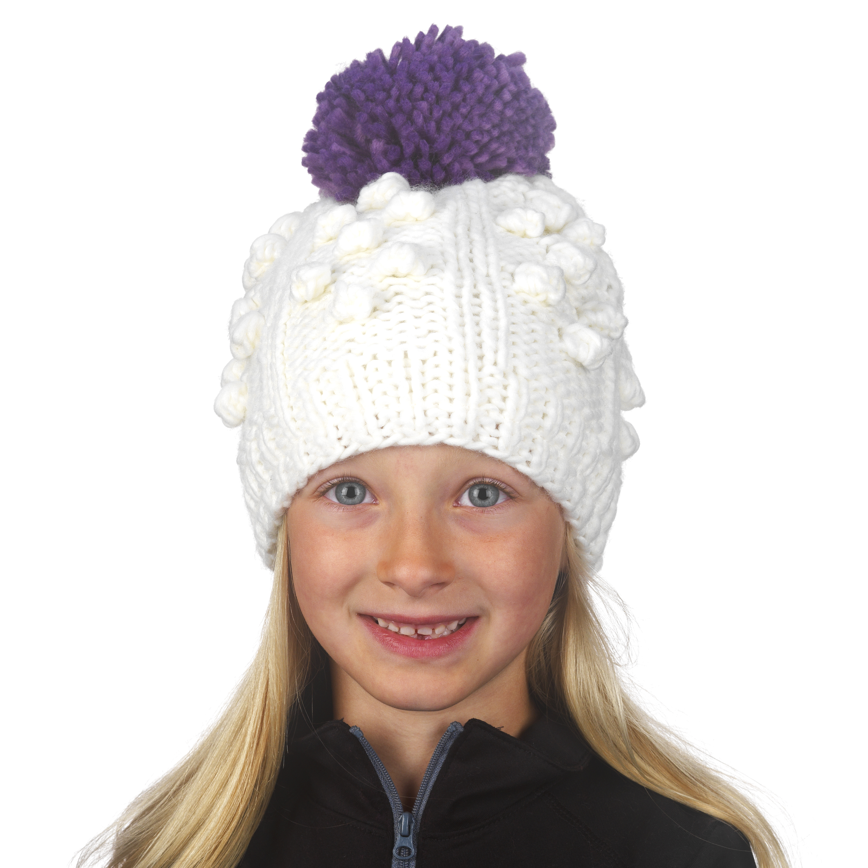 c04c123ba1f Turtle Fur Zola Girl s Chunky Hand Knit Fleece Lined Pom Winter Hat ...